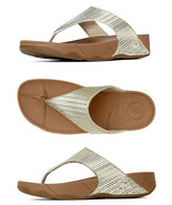 FitFlop Women's Lulu Weave Pale Gold  Wedge Platform Sandals Flip Flop F... - $39.96