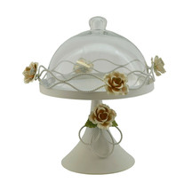Metal round cake plate with glass dome cover - $16.69
