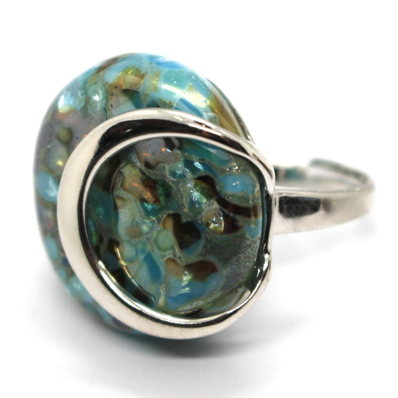 Ring Antique Murrina, Murano Glass, Disco Convex, Aqua Blue, Green