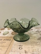 Vintage Fenton Strawberry DesIgn Ruffled Rim Green  Sherbet Bowl - $11.50