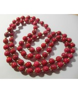 Vintage Endless Long Cherry Red Marbled Glass Bead Necklace W/ Gold-tone... - $64.35