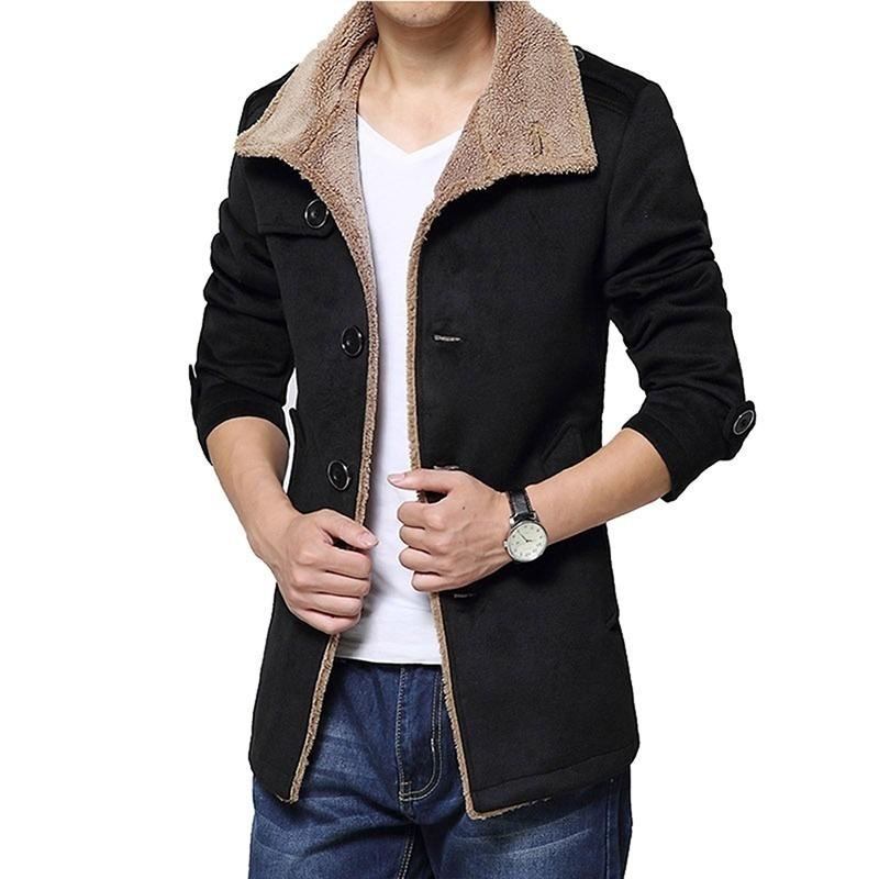 Winter Warm Men's Slim Fit Fleece Parka Jacket Trench Coat Fashion Outwear ( L--