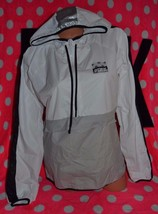 Victoria's Secret PINK ANORAK HALF ZIP HOODIE WINDBREAKER GREY WHITE LIN... - $60.00