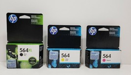 HP 564 3 Ink Cartridges. 2 Expired 2018, 1 Expires Feb. 2019. Factory Sealed image 1