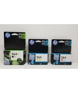 HP 564 3 Ink Cartridges. 2 Expired 2018, 1 Expires Feb. 2019. Factory Se... - $24.75