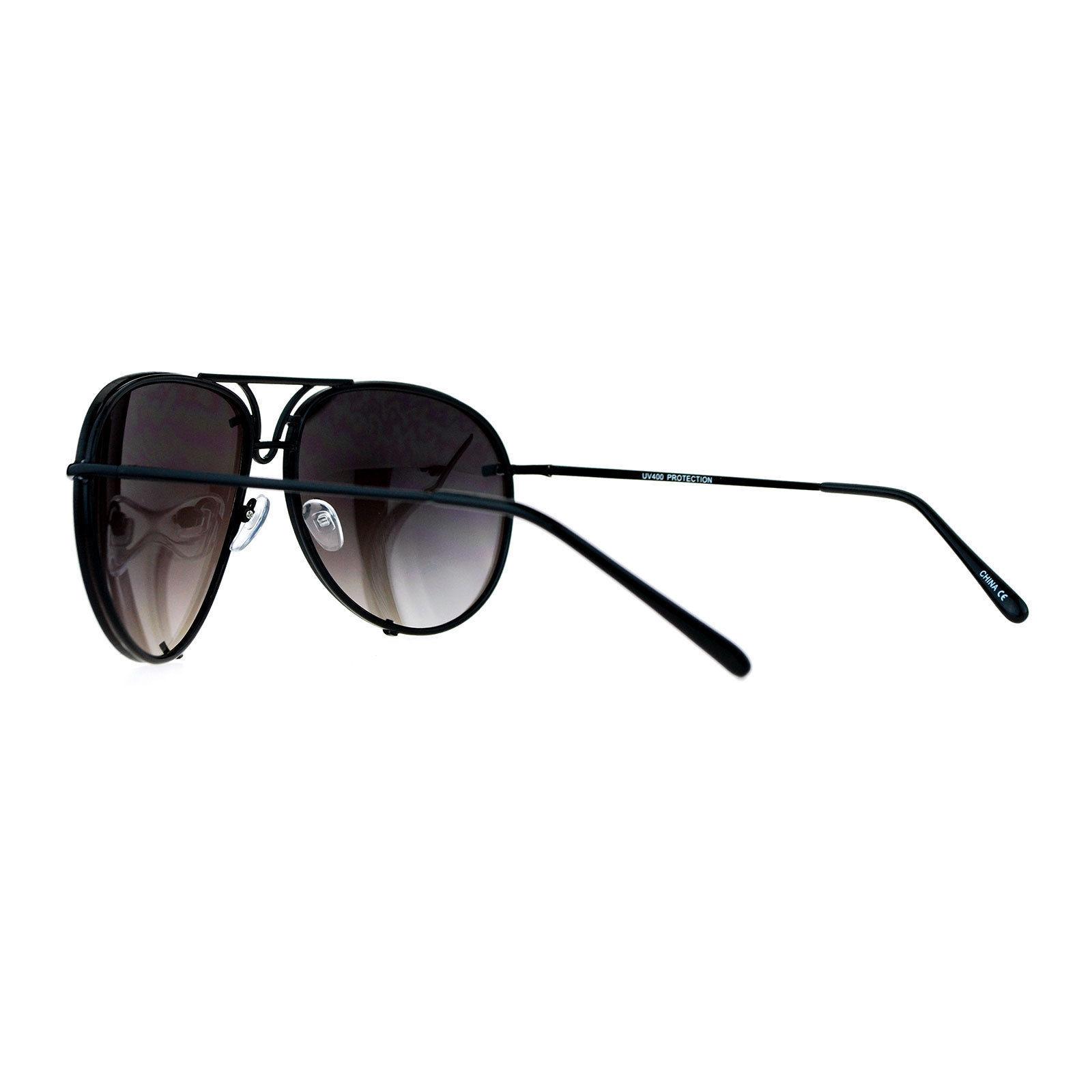 Oversized Round Aviator Sunglasses Mirror Lens Metal Rims in Back Spring Hinge