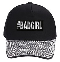 #BadGirl Hat - Rhinestone Black Adjustable Womens - Funny Hashtag - $17.05