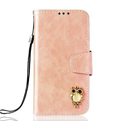 LG V30 Case/V30S/V30 Plus Case,Gloryshop Bling Crystal Owl Wallet Cover Flip Fol
