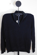Calvin Klein Men's Black Ribbed Knit Half-Zip Multi-Texture Sweater - Large - $39.95