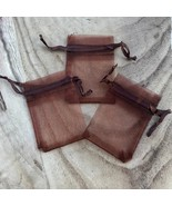 Draw String Organza Jewelry Pouches Party Gift Bags 2 x 3 inches Brown 1... - $3.69