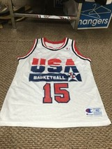 Magic Johnson Team USA White Champion Jersey 40 Excellent Condition - $118.79