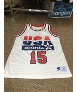 Magic Johnson Team USA White Champion Jersey 40 Excellent Condition - $118.79