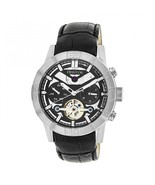 Heritor Automatic Hannibal Semi-Skeleton Leather-Band Watch - Silver/Black - $935.00