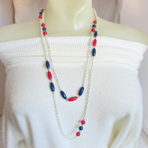 """1970s Vintage Red White Blue Necklace Enamel Chain w/ Beads 54"""" Length - $13.50"""