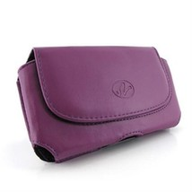 Purple Horizontal Leather Case Pouch For HTC One M7 One Google Play Edition 801s - $4.69
