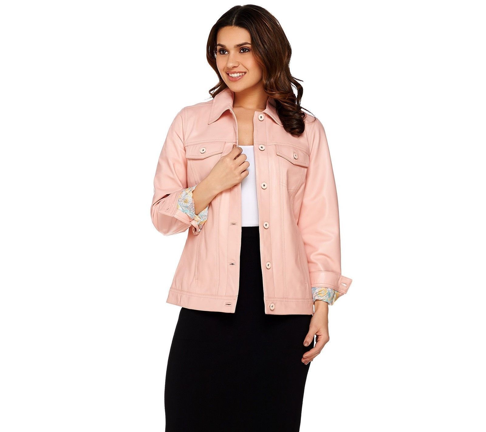 Denim & Co. Lamb Leather Jean Jacket, Shell Pink, Size XS, MSRP $289