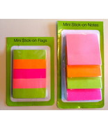 Set of 2 Bright Mutli-Colored Mini Stick-On Notes and Flags - $2.99