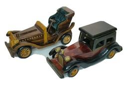 "Vintage Wooden Car 2 Piece Set 10"" Automobiles World Bazaar Display Card... - $24.98"