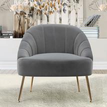 Nubuck Velvet Bucket Style Accent Chair, Dark Grey - $220.00