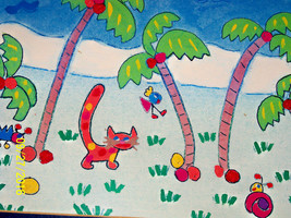 cat art Dancing Palms suzette delia reiss framed ocean tropical adventur... - $24.74
