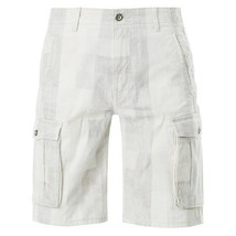 NEW LEVI'S MEN'S PREMIUM COTTON RELAXED CARGO SHORTS WHITE GRAY PLAID 124630294