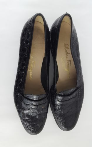 Salvatore Ferragamo Boutique 5.5 AA Black marrone croc print flats