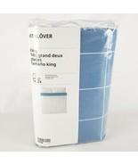 Ikea Vitklover King Duvet Cover w/2 Pillowcases Bed Set White/Blue Checked - $58.10