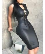 Winter Dress Women Sleeveless Slash Neck Double Ruffle Top Artificial Leather PU - $30.29