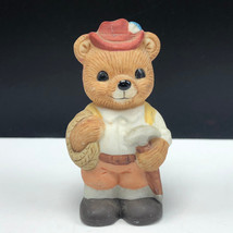HOMCO TEDDY BEAR FIGURINE vintage 1406 porcelain cub yodeling germany pick rope - $17.82