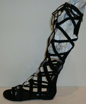 Steve Madden Size 7.5 SAMMSON Black Gladiator Knee High Sandals New Womens Shoes - $117.81