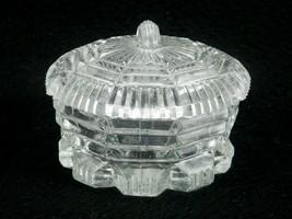 "Vintage Pressed Glass Powder Jar w/Lid, 9-Sided, Notched Base, 2.75"", Fi... - $19.55"