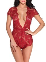 Women Lace Lingerie V Neck Babydoll One Piece Pajamas Sleepwear - $39.95