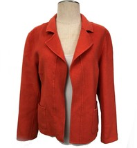 Talbots Coral Red Orange Wool Jacket Coat Open Front Blazer Sz 14P - $26.60