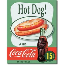 Coca Cola Coke Hot Dogs Combo 15 Cents Retro Vintage Wall Decor Metal Ti... - $14.99