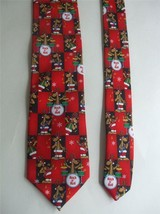 Hallmark Mens Tie Rock 'n Roll Reindeer Band Necktie Guitars Drums Red Christmas - $9.89