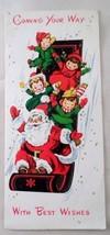 1955 Sunshine Christmas Card Santa Claus Toboggan Sledding Downhill Girl... - $13.32