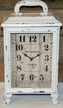 Old Farmhouse Carriage Clock Rustic White Vintage Cottage Farmhouse Chic New - $55.00