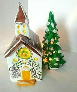 Country Church Wayside Chapel Light Up Church Weary Traveler Snowy Pine ... - $39.55