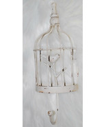 """Canary Bird in Cage Wall Hook Distressed White Metal 12""""x4.25"""" Primitive Country - $14.80"""