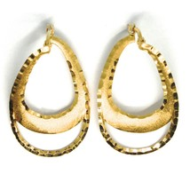 Boucles D'Oreilles Pendantes or Jaune 750 18k, Gouttes Satin & Martélées, Chauds image 1