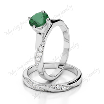 925 Sterling Silver Emerald Gemstone 14k White Gold Plated Sim Diamond   - $100.00