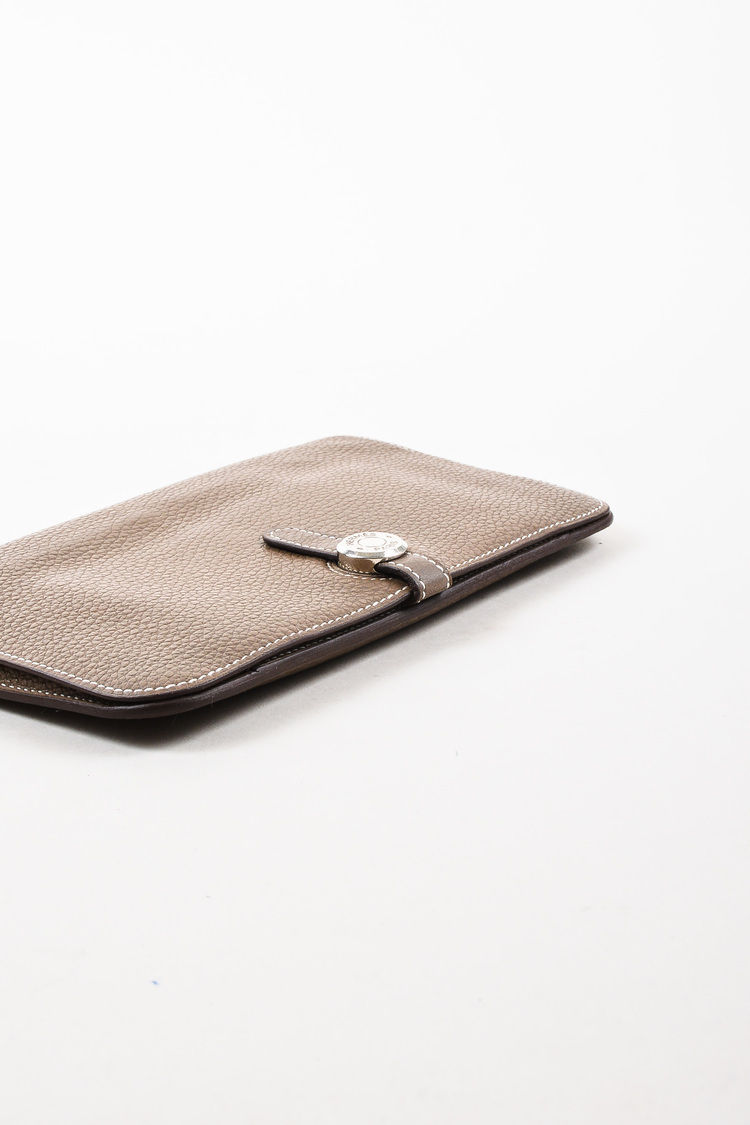 """Hermes """"Etoupe"""" Taupe Clemence Leather & Lambskin """"Dogon Duo"""" Wallet"""