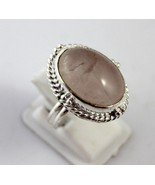 9 Gr Rose Quartz Silver Overlay Handmade Jewelry Ring Size 7.5-P-135-1 - $5.46