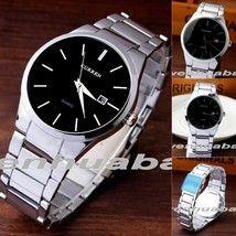 "CURREN 40mm Men ""Small Date Box"" Steel Link Strap Analog Quartz Wrist Watch - $14.24"