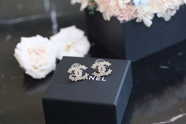 Authentic Chanel 2019 Classic CC Logo Crystal Gold Stud Earrings  image 5