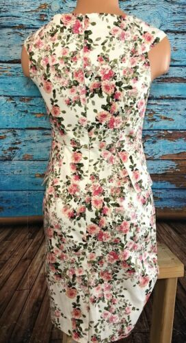 Forever 21 Floral Garden Dress Pink White Zip XS Extra Small V Neck F21