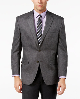 NWT Lauren by Ralph Lauren Mens 46R Grey Herringbone Cashmere-Blend Sport Coat