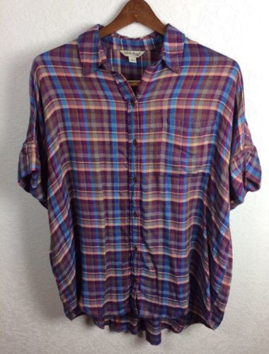 Primary image for Lucky Brand Short Sleeve Plaid Button Front Shirt Women's Large