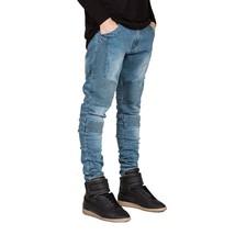 Men Jeans Runway Slim Racer Biker Jeans Fashion Hiphop Skinny Jeans US Size - $38.23