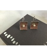 Didae Sterling Silver Hammered Rectangle Pearl Earrings Israel - $30.14